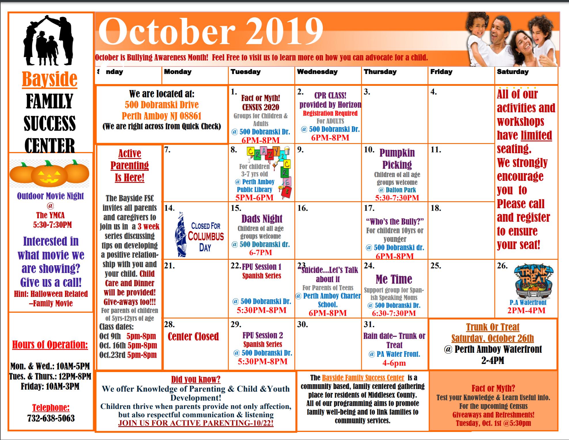 October FSC Calendar 2019