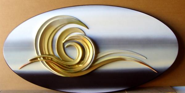 M7278– Hi-Polish Carved HDU Aluminum and Brass Coated Plaque