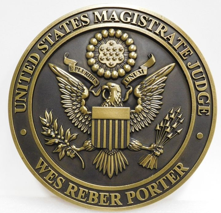 FP-1455- Carved Plaque of the Seal  of the US Magistrate Judge, Brass Plated