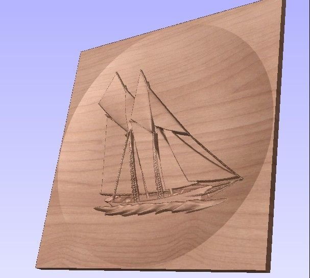 M3979 - Carved Cherry Schooner
