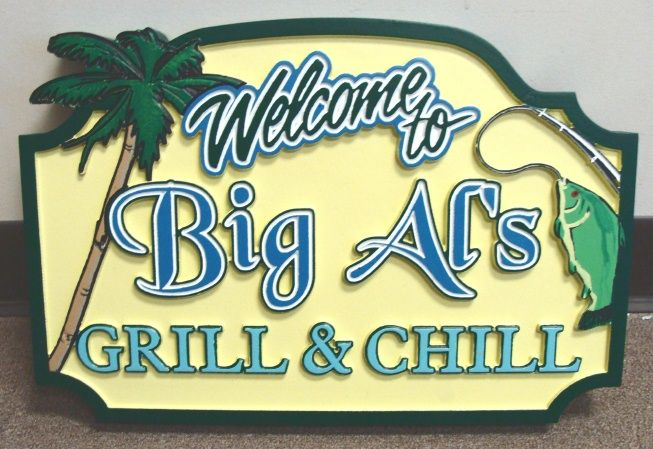 "Q25146 - Carved HDU (Wood Also Avail) ""Welcome"" to ""Grill and Chill"" Restaurant with Fish and Palm Tree"
