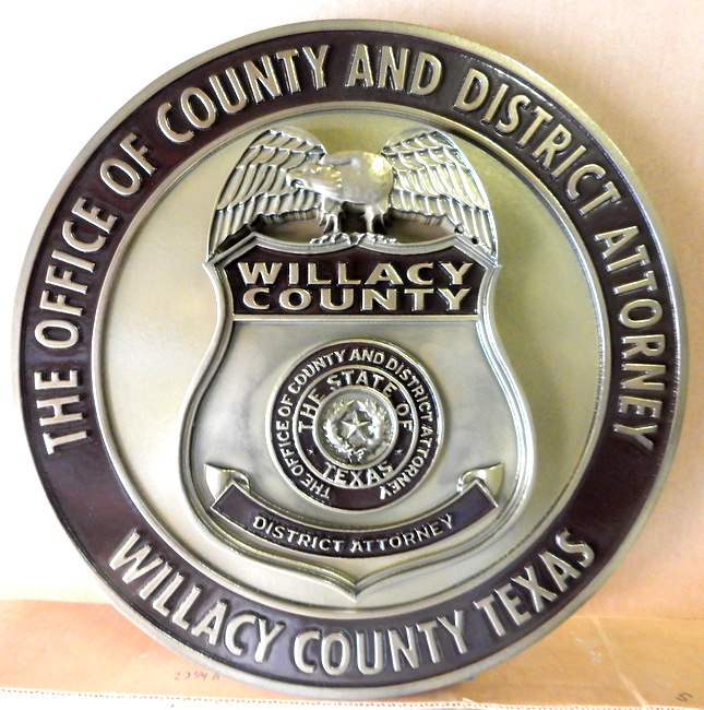 M7452 - Silver Painted 3D Carved Badge Plaque for District Attorney of Willacy County, Texas