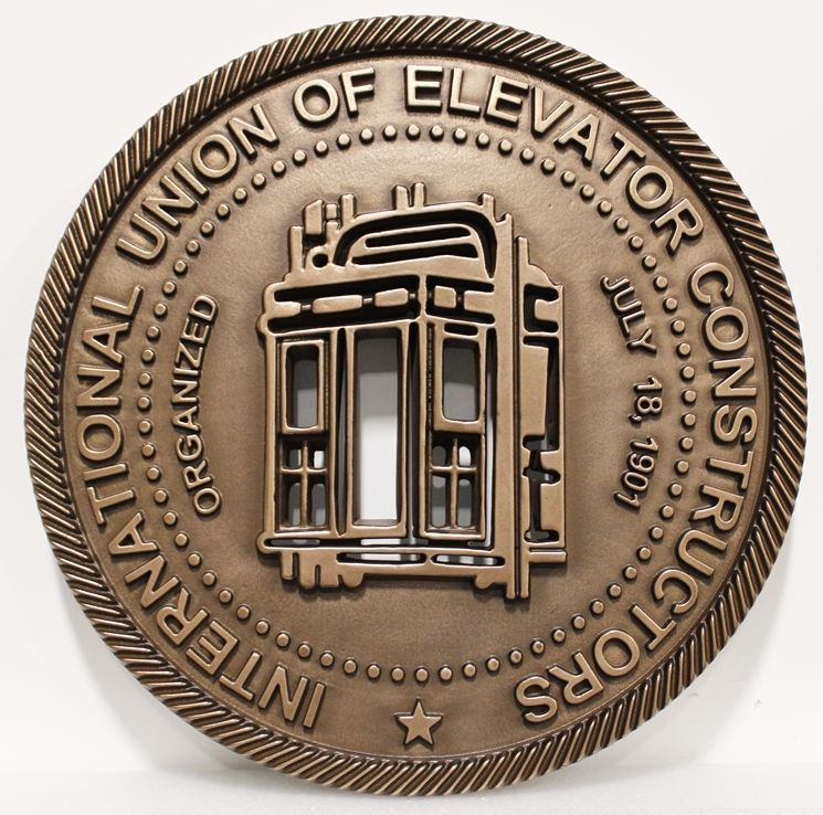 VP-1358 - Carved 2.5-D Multi-Level Raised Relief Bronze-plated Plaque of the Seal of the International Union of Elevator Constructors