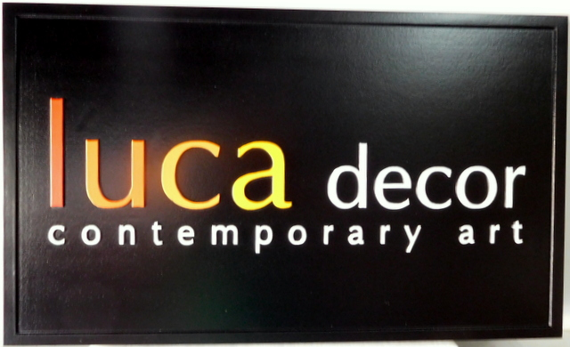 "SA28041 - Carved HDU sign for the ""Luca Decor Contemporary Art"" Store."