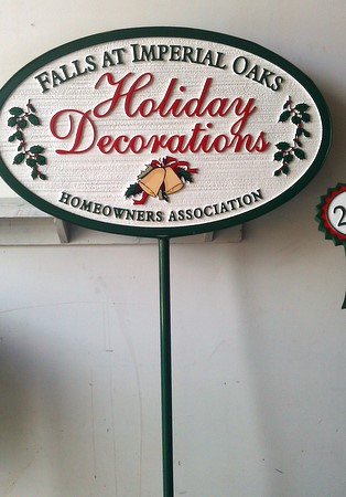 "KA20951- Sign with Removable Iron Stake for Winner of HOA  ""Home Holiday Decorating Contest"""
