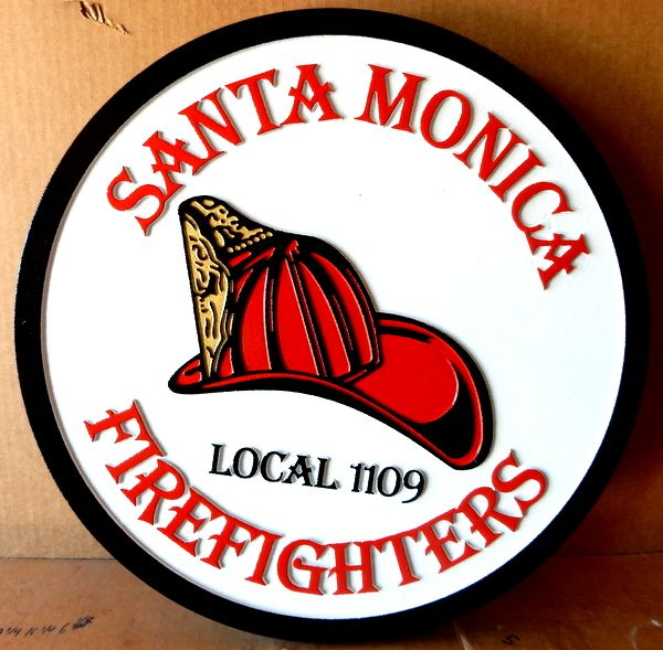 QP-3020 - Carved Wall Plaque of  the Seal  of the Santa Monica Firefighters, California, Artist Painted