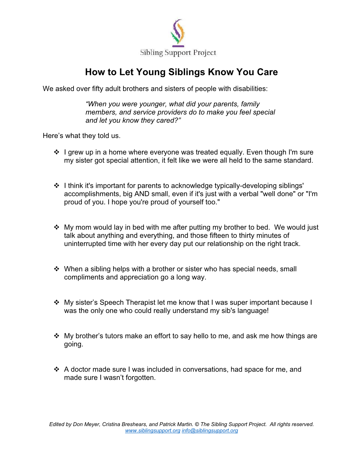 How To Let Young Siblings Know You Care