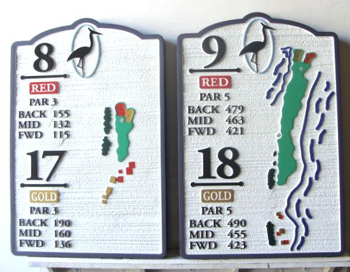 E14415  - Carved HDU Tee Signs with Maps and Yardage