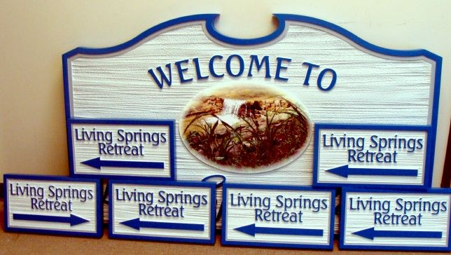 "M22106 - Carved and Sandblasted HDU Waterfall Sign ""Living Springs Retreat""  with Digital Vinyl Applique"