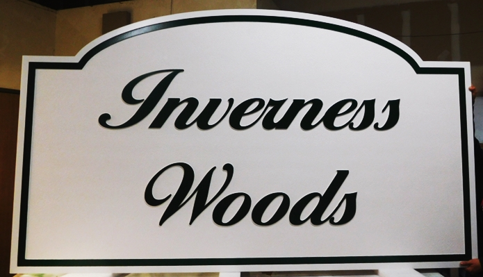 "K20325 - Carved HDU Sign,  for  the ""Inverness Woods""  Residential Community, with Wood Grain Sandblasted Background"