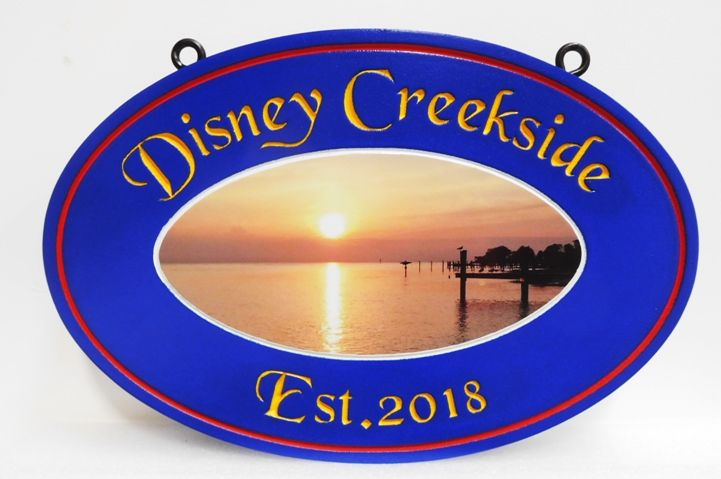 "M22381 - Engraved  Vacation Home Name Sign ""Disney Creekside"", with Giclee Applique of Photo of  Lake, Dock, Mountains, and Setting Sun"