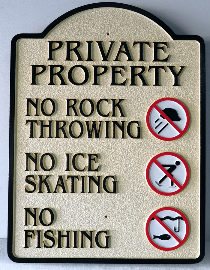 "KA20761 - Carved ""Private Property, No Fishing"" Sign for HOA, Sandblasted in sandstone Texture"