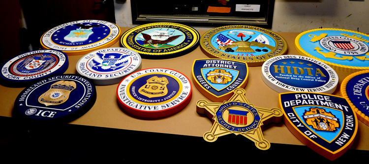 IP-2000 - Military Plaques in Final Paint Stage  in Art Sign Works Paint Shop, Artist Painted