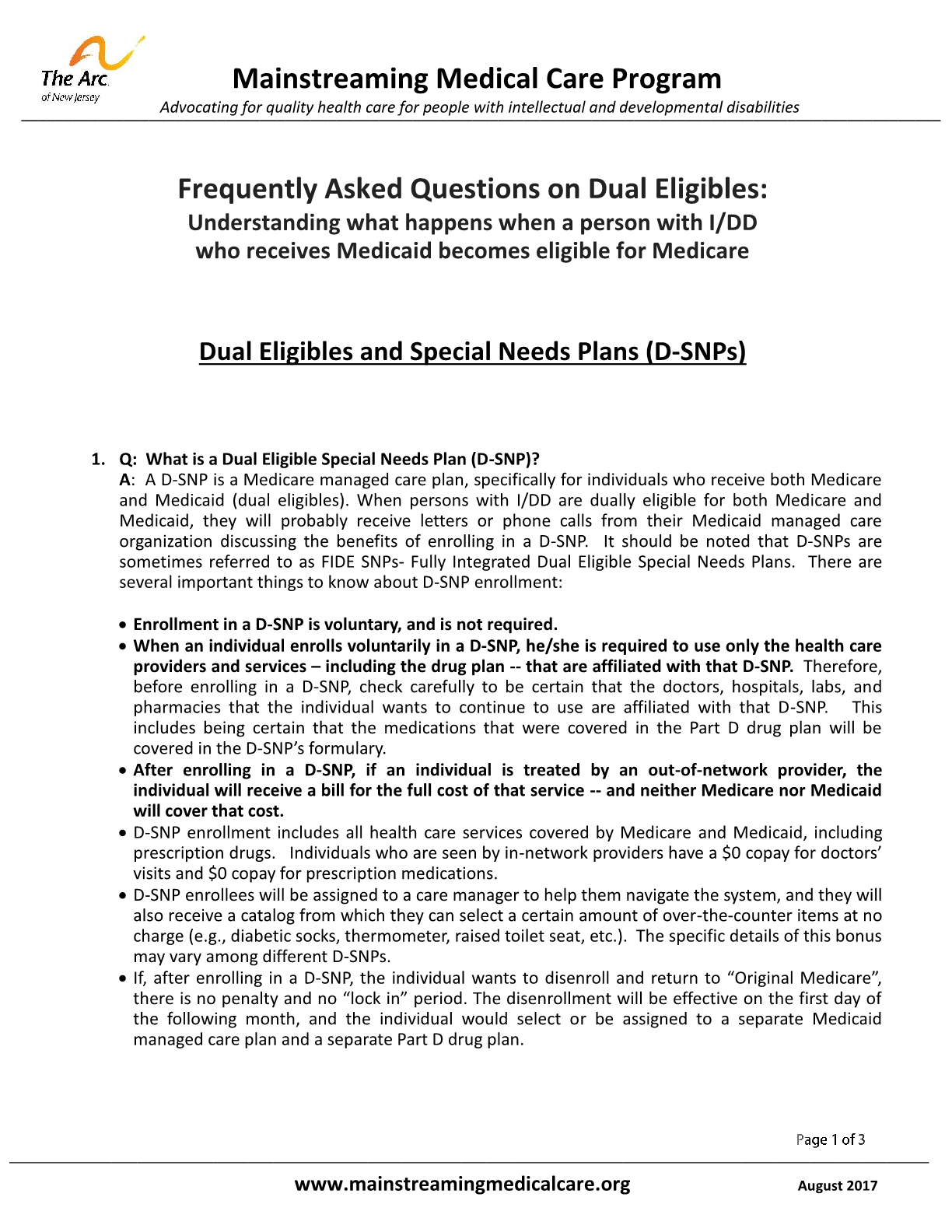 FAQ on Dual Eligibles: Understanding what happens when a person with I/DD who receives Medicaid becomes eligible for Medicare - Dual Eligibles and Special Needs Plans (D-SNPs)