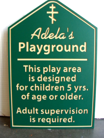 GA16487 - Carved HDPE Playground Sign