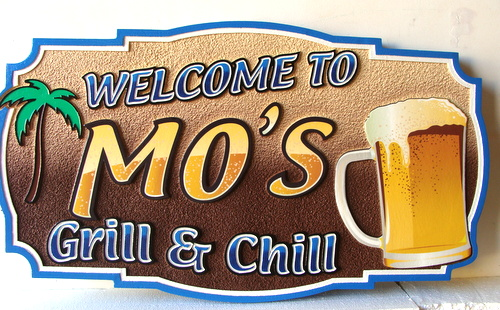 """RB27216 - Carved and Sandblasted HDU Tropical Bar Sign, """"Grill & Chill"""", with Beer Mug and Palm tree"""