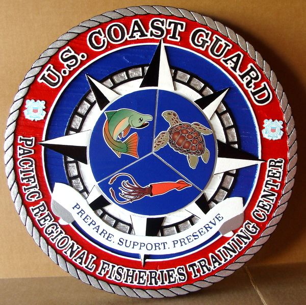 V31976 - Large Carved  Wall Plaque for  the US Coast Guard Pacific Regional Fisheries Training Center, with Sea Life