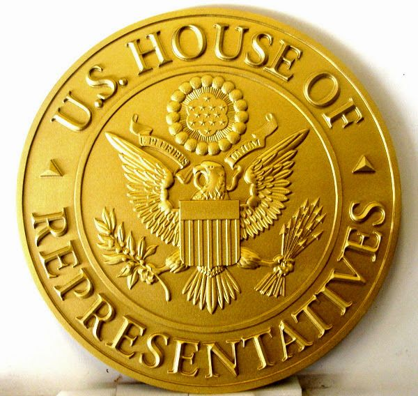 M7414 - Metallic Gold Painted Carved HDU Wall Plaque, painted Metallic Gold, of the Great Seal of the US House of Represntatives