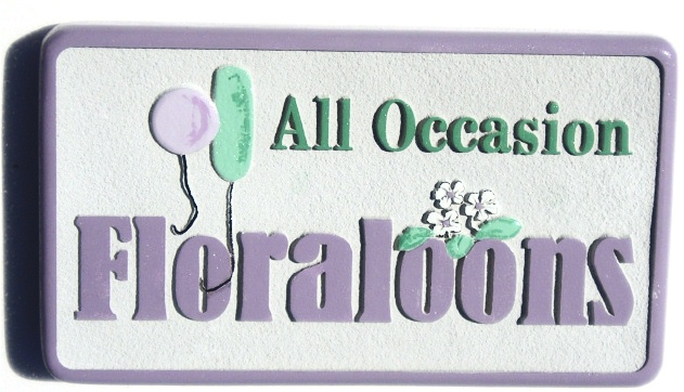 SA28355 - Sign for Store Featuring Flower Arrangements with Balloons.