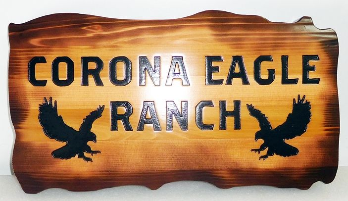 O24623 -  Engraved Western Red Cedar  Sign for the Corona Eagle  Ranch , with Two Eagles
