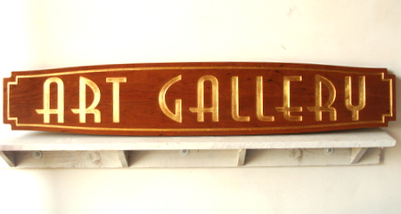 SA28303 - Elegant Carved Mahogany  Art Gallery Sign with 24K Gold Leaf Gilding