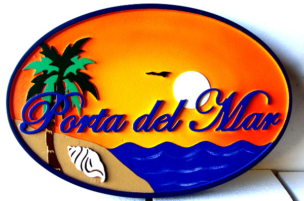 L21206 - Carved Sign for Seaside Residence, Porta del Mar, with Ocean, Sunset and Palm Tree
