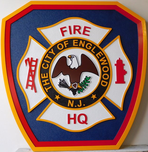 QP-2050 - Carved Wall Plaque of  the Shoulder Patch of the Englewood Fire Headquarters, New Jersey, Artist Painted