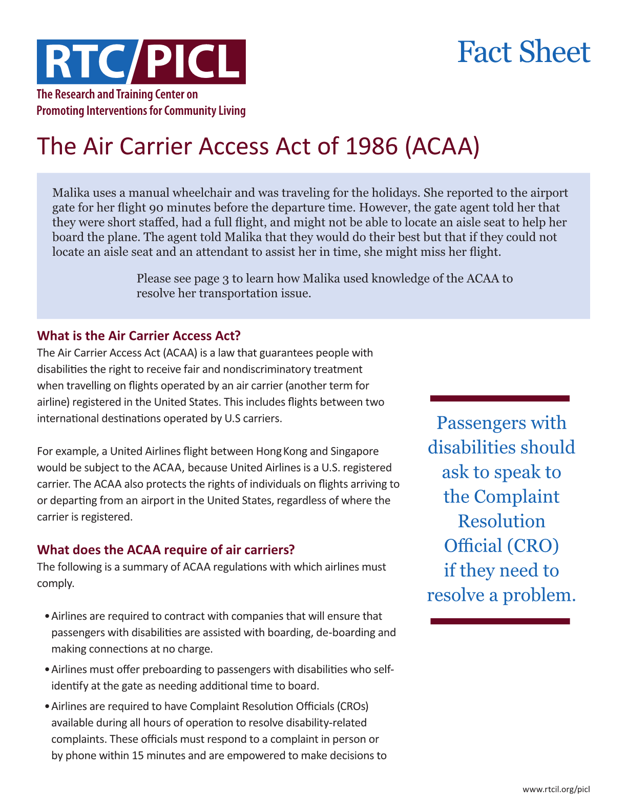 The Air Carrier Access Act of 1986 (ACAA)