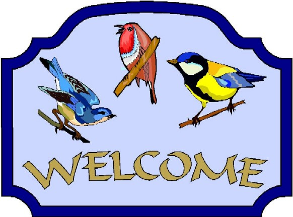 GA16715- Design of Carved Wood or HDU Welcome Sign with Colorful, Cheerful, Singing Birds