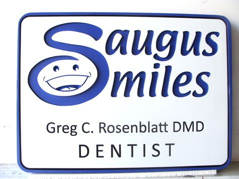 BA11572 - Happy Smiles Carved Wooden Dentist Sign
