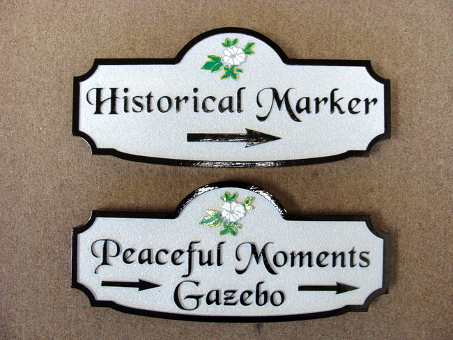GA16585 - Carved HDU Directional Signs for Historical Marker, Peaceful Moments Gazebo