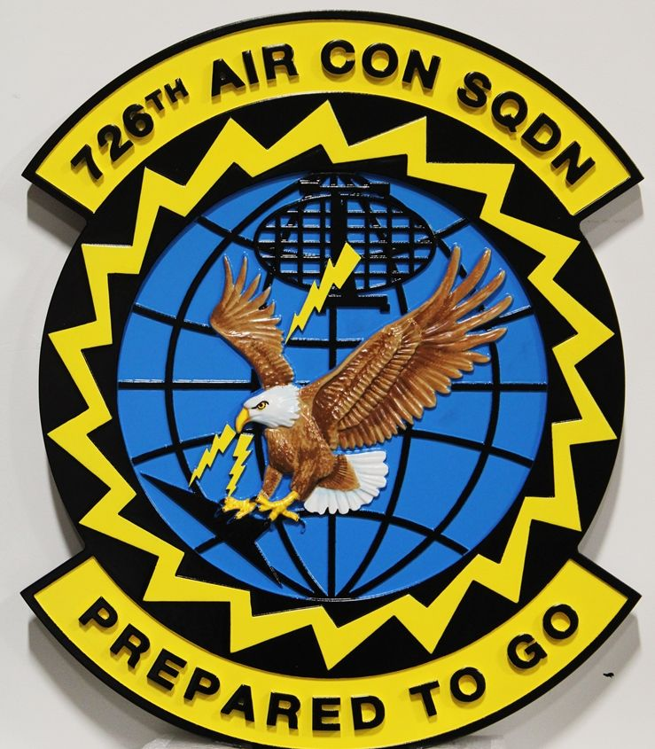 """LP-4095 - Carved Plaque of the Crest of the US Air Force's 728th Air Control Squadron, """"Prepared to Go"""", 3-D Artist-Painted"""