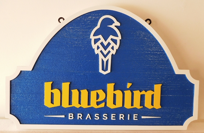 "RB27162 - Carved and Sandblasted HDU  ""Bluebird Brasserie"" Sign, 2.5-D Artist-Painted"