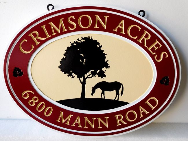P25087 - Custom Carved Farm Sign with Engraved (Incised)  Image of Horse and Tree with Raised Prismatic Letters and Borders