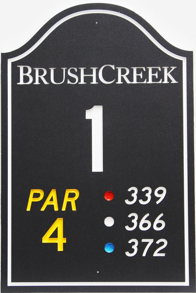 E14425 - Engraved HDPE Tee Sign for Hole 1of the Brush Creek Golf Course