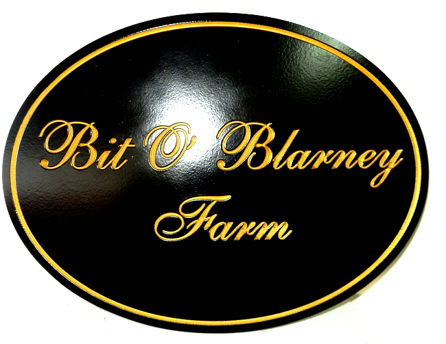 "O24030 - Smooth Engraved HDU Farm Sign with the Irish Saying ""Bit o' Blarney"""