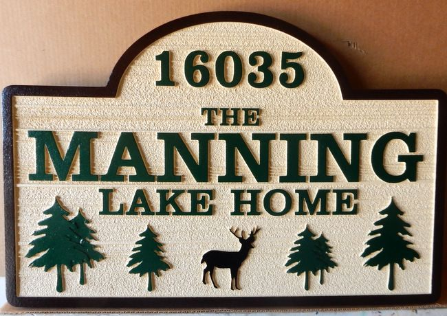 M22034 Address Sign for Lake Home with Trees and Deer