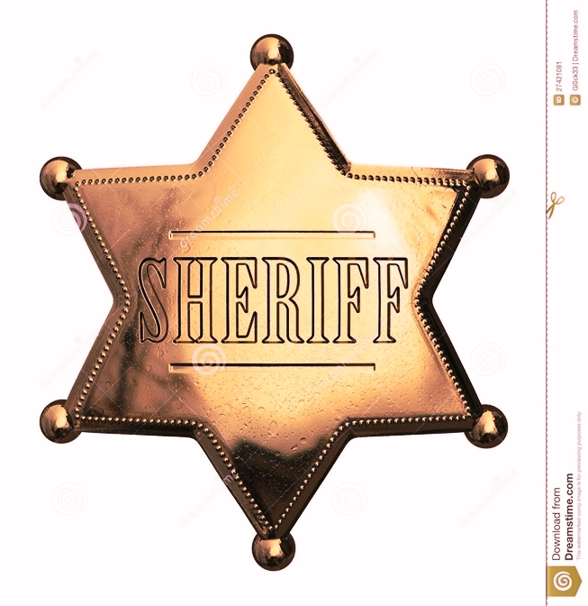 PP-1720 - Engraved Wall Plaque of the Star Badge of a Sheriff  (Antique), Brass Plated