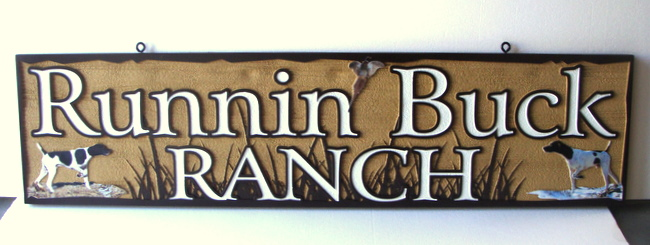 M22648 - Carved HDU Sign for Running Buck Ranch with Pheasant and Hunting Dogs
