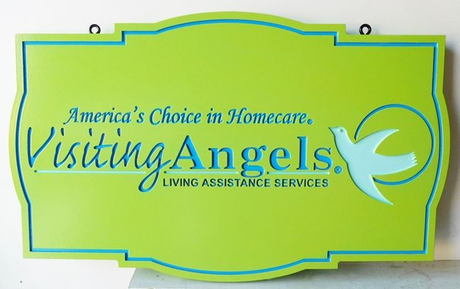 """SA28509 - Engraved HDU Sign for the  """"Visiting Angels"""" Living Assistance Services, with Dove as Artwork"""