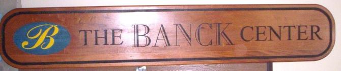 "SA28733 -  Attractive Carved, Engraved Mahogany Wood Sign for ""Banck Center"""