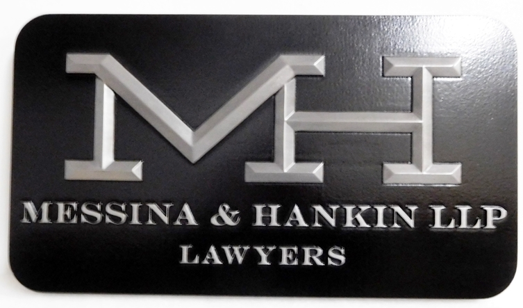 A10005 - Aluminum-Coated Carved HDU Wall Sign for Law Firm Messina and Hankin, with Logo