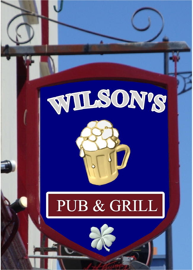 "RB27555 - English ""Wilson's""  Pub & Grill Sign with Mug of Ale"