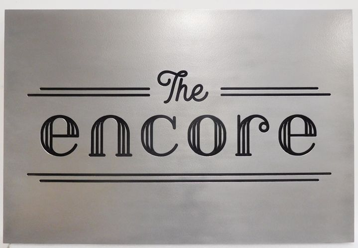 "Q25003 - Elegant Polished Aluminum-plated  Engraved Sign for the ""The Encore""  Restaurant"