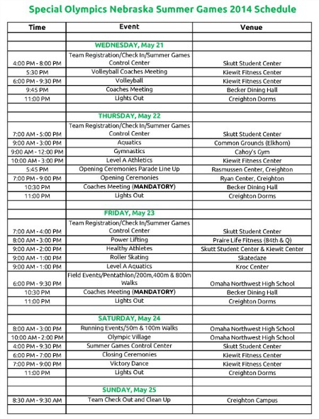 Summer Games Schedule!