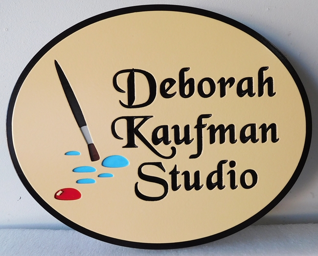 "SA28412 - Carved Engraved  HDU  Sign for the ""Deborah Kaufmann Studio"", with Artist Brush and Paint as Artwork"