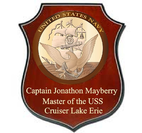 JP-1340 -  Engraved Retired Shield Plaque for Captain, with Great Seal of Navy, Mahogany and Maple Wood