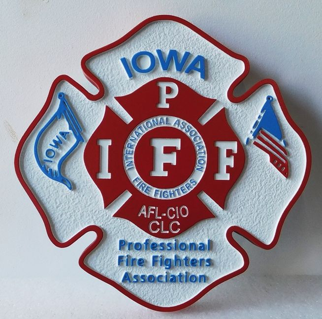QP-1090 - Carved Wall Plaque of  the Emblem of the International Association of Firefighters, Iowa, Artist Painted