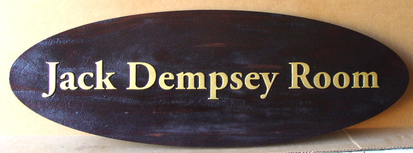 "Q25062 - Carved, Painted Wood Nameplate Sign for a Restaurant Dining Room or Event ""Jack Dempsey Room"" with 24K Gold Leaf Letters"