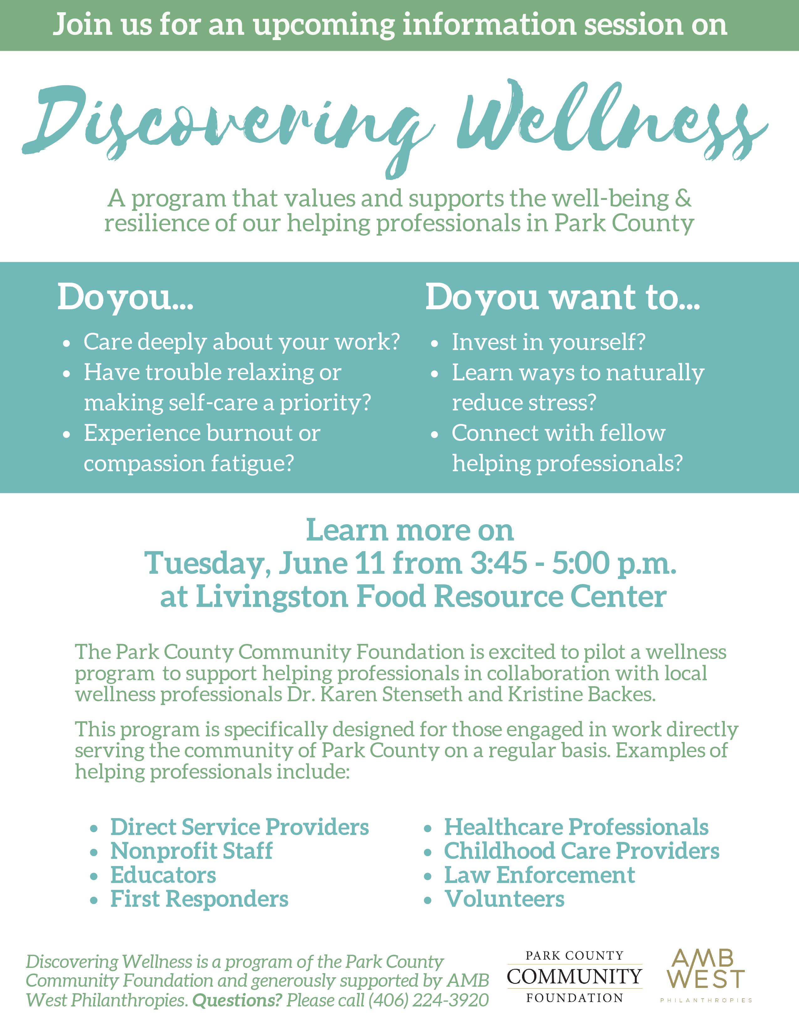 Discovering Wellness Information Session